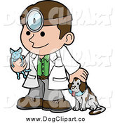Vector Cartoon Clip Art of a Friendly Male Veterinarian with a Dog and Holding a Cat During a Yearly Exam by AtStockIllustration