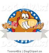 June 30th, 2012: Vector Cartoon Clip Art of a Friendly Patriotic Brown Dog Mascot Cartoon Character with Open Arms with a Blank Label by Toons4Biz
