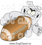 Vector Cartoon Clip Art of a Gray Bulldog Grabbing an American Football by Toons4Biz