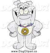 Vector Cartoon Clip Art of a Gray Bulldog Wearing a Medal by Toons4Biz