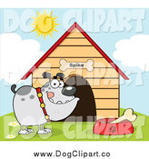 Vector Cartoon Clip Art of a Gray Bulldog with a Bone in His Dish by His Dog House by Hit Toon
