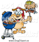 February 12nd, 2014: Vector Cartoon Clip Art of a Grilling Dog Wearing a Santa Hat and Holding Food on a BBQ Fork by Dennis Holmes Designs