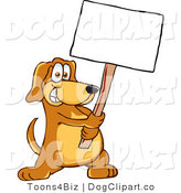 July 19th, 2012: Vector Cartoon Clip Art of a Grinning Brown Dog Mascot Cartoon Character Holding a Blank White Sign by Toons4Biz
