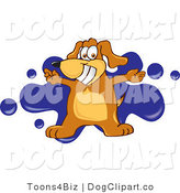 July 20th, 2012: Vector Cartoon Clip Art of a Happy and Grinning Brown Dog Mascot Cartoon Character with Open Arms over a Blue Splatter by Toons4Biz