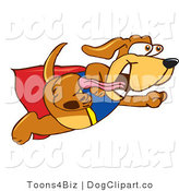 July 15th, 2012: Vector Cartoon Clip Art of a Happy Brown Dog Mascot Cartoon Character Dressed As a Super Hero, Flying by Toons4Biz