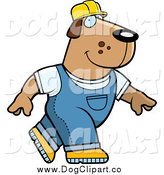 July 7th, 2014: Vector Cartoon Clip Art of a Happy Builder Dog Walking by Cory Thoman