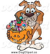 Vector Cartoon Clip Art of a Happy Bulldog Holding a Pumpkin Basket Full of Halloween Candy by Dennis Holmes Designs