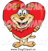 Vector Cartoon Clip Art of a Happy Dog Breaking His Head Through a Heart by Dennis Holmes Designs