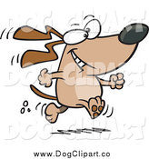 Vector Cartoon Clip Art of a Happy Dog Walking Upright by Toonaday