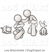 Vector Cartoon Clip Art of a Happy Sketched Design Mascot Family, Father, Mother and Newborn Baby with Their Dog and Cat by Leo Blanchette
