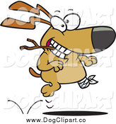 Vector Cartoon Clip Art of a Happy Three Legged Dog Playing Fetch by Toonaday