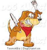 Vector Cartoon Clip Art of a Hungry Brown Dog Mascot Cartoon Character Holding a Knife and Fork, Extremely Hungry by Toons4Biz