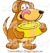 July 3rd, 2012: Vector Cartoon Clip Art of a Hungry Brown Dog Mascot Cartoon Character Holding a Yellow Food Dish, Waiting to Be Fed by Toons4Biz