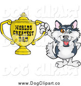Vector Cartoon Clip Art of a Husky Dog Holding a Golden Worlds Greatest Dad Trophy by Dennis Holmes Designs