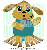 September 17th, 2014: Vector Cartoon Clip Art of a Karaoke Dog over Green Stripes by Bpearth