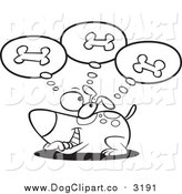 Vector Cartoon Clip Art of a Lineart Dog Day Dreaming of Bones by Toonaday