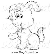 Vector Cartoon Clip Art of a Lineart Puppy Dog Lifting a Paw by Alex Bannykh