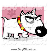 Vector Cartoon Clip Art of a Mean Bull Terrier Doggy by Hit Toon