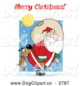 Vector Cartoon Clip Art of a Merry Christmas Greeting over a Dog Biting Santas Butt by Hit Toon