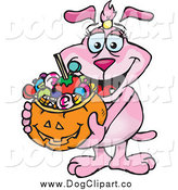 October 1st, 2014: Vector Cartoon Clip Art of a Pink Dog Holding a Pumpkin Basket Full of Halloween Candy by Dennis Holmes Designs
