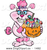 Vector Cartoon Clip Art of a Pink Poodle Holding a Pumpkin Basket Full of Halloween Candy by Dennis Holmes Designs