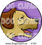 Vector Cartoon Clip Art of a Purple Year of the Dog Chinese Zodiac Circle by BNP Design Studio