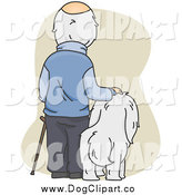 Vector Cartoon Clip Art of a Rear View of a Balding Senior Man Standing by His Dog by BNP Design Studio