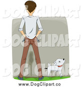 December 4th, 2014: Vector Cartoon Clip Art of a Rear View of a White Man and His Dog Peeing on a Wall by BNP Design Studio