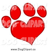 Vector Cartoon Clip Art of a Red Heart Shaped Dog Paw Print Outlined in a Darker Tone by Hit Toon