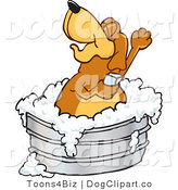 June 28th, 2012: Vector Cartoon Clip Art of a Relaxing Brown Dog Mascot Cartoon Character Bathing in a Metal Tub by Toons4Biz