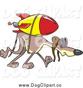 Vector Cartoon Clip Art of a Rocket Strapped to a Slow Greyhound by Toonaday