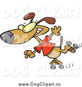 Vector Cartoon Clip Art of a Roller Blading Brown Dog by Toonaday