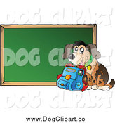 Vector Cartoon Clip Art of a School Dog with a Book Bag by a Chalkboard by Visekart