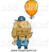 Vector Cartoon Clip Art of a Shih Tzu Dog with a Balloon by BNP Design Studio