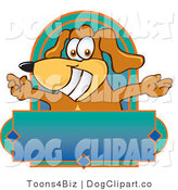 Vector Cartoon Clip Art of a Silly Brown Dog Mascot Cartoon Character with Open Arms Above a Blank Label by Toons4Biz