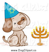 Vector Cartoon Clip Art of a Sitting Passover Dog by BNP Design Studio