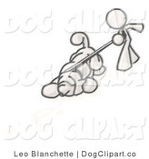Vector Cartoon Clip Art of a Sketched Design Mascot Businessman Walking a Hound Dog That Is Pulling on the Leash to Sniff a Shadow of a Dollar Symbol by Leo Blanchette