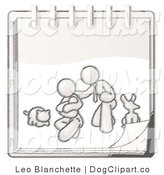Vector Cartoon Clip Art of a Sketched Design Mascot Family Showing a Man Kneeling Beside His Wife and Newborn Baby with Their Dog and Cat on a Spiraling Notebook by Leo Blanchette