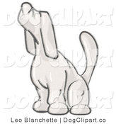 Vector Cartoon Clip Art of a Sketched Design Mascot Hound Sniffing the Air and Facing Left by Leo Blanchette