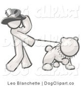 Vector Cartoon Clip Art of a Sketched Design Mascot Man Character Wearing a Top Hat and Walking a Bulldog with a Spiked Collar by Leo Blanchette
