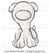 Vector Cartoon Clip Art of a Sketched Puppy Dog Sitting and Facing Ahead by Leo Blanchette