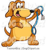 July 2nd, 2012: Vector Cartoon Clip Art of a Smiling Brown Dog Mascot Cartoon Character Holding a Leash, Ready for a Walk by Toons4Biz