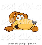 Vector Cartoon Clip Art of a Smiling Brown Dog Mascot Cartoon Character Peeking over a Surface by Toons4Biz