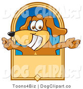 Vector Cartoon Clip Art of a Smiling Brown Dog Mascot Cartoon Character with Open Arms on a Tan Banner by Toons4Biz
