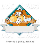 July 18th, 2012: Vector Cartoon Clip Art of a Smiling Happy Brown Dog Mascot Cartoon Character with Open Arms over a Blank White Label by Toons4Biz