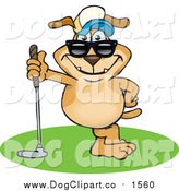 Vector Cartoon Clip Art of a Sporty Dog Leaning on a Golf Club by Dennis Holmes Designs