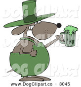 Vector Cartoon Clip Art of a St Patricks Day Dog Holding up a Green Beer by Djart