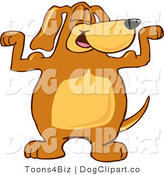 Vector Cartoon Clip Art of a Strong and Happy Brown Dog Mascot Cartoon Character Flexing His Bicep Arm Muscles by Toons4Biz