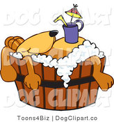 Vector Cartoon Clip Art of a Tired Brown Dog Mascot Cartoon Character with a Drink on His Belly, Taking a Bath by Toons4Biz