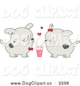 Vector Cartoon Clip Art of a Valentine Dog Couple Sharing a Soda by BNP Design Studio